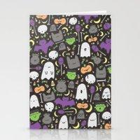 Kawaii Halloween - Black Stationery Cards