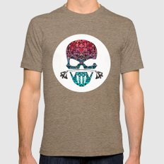 SKULL FLORAL ORNAMENTS I Mens Fitted Tee Tri-Coffee SMALL