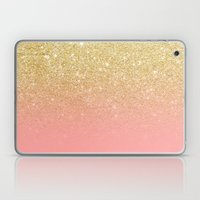 Modern gold ombre pink color block Laptop & iPad Skin