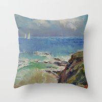 Sailing Off The Cove Throw Pillow
