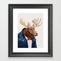 Moose in Navy Blue Framed Art Print