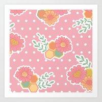 Hexagon Floral 1 Art Print