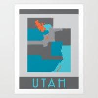 Utah State Map Print Art Print