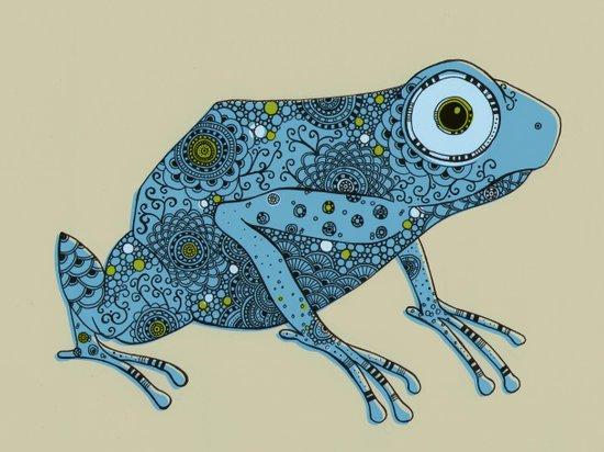 Little blue frog Canvas Print