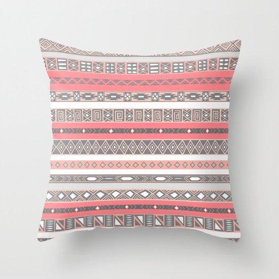 Aztec Print Peach Rose Salmon Grey Throw Pillow