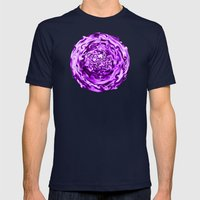 Purple Swirl Topography Mens Fitted Tee Navy SMALL