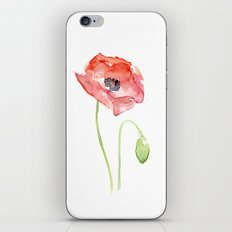 Red Poppy Watercolor iPhone & iPod Skin