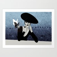 Butterfly And Woman Art Print