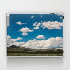 Puffy White Clouds with Blue Sky and Green Meadow Hills Laptop & iPad Skin
