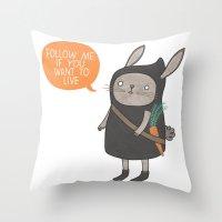 Ninja Bunny Throw Pillow