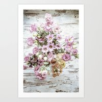 Chic Bouquet on Shabby Floor Art Print