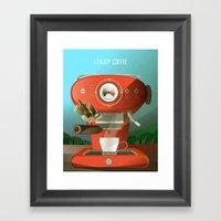 Hummingbird Enjoys Coffe… Framed Art Print