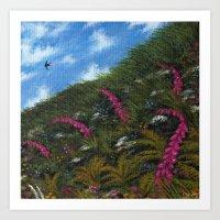 Foxglove Hedgerow Art Print