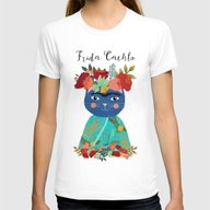 Frida Cathlo Womens Fitted Tee White SMALL