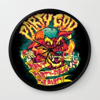 PARTY GOD (red) Wall Clock