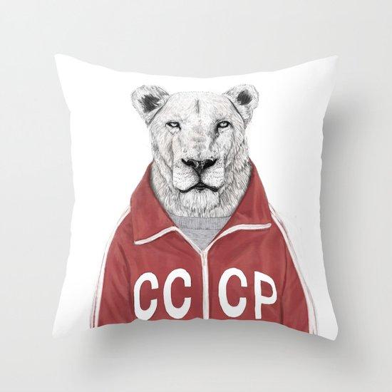 Soviet lion Throw Pillow