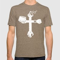 Sign of the Cross Mens Fitted Tee Tri-Coffee SMALL