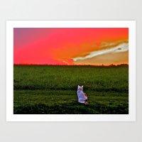 Lulu Loves a Good Sunset Art Print