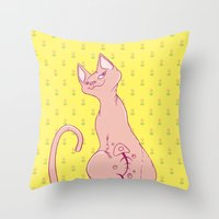 Cats with Tats Throw Pillow