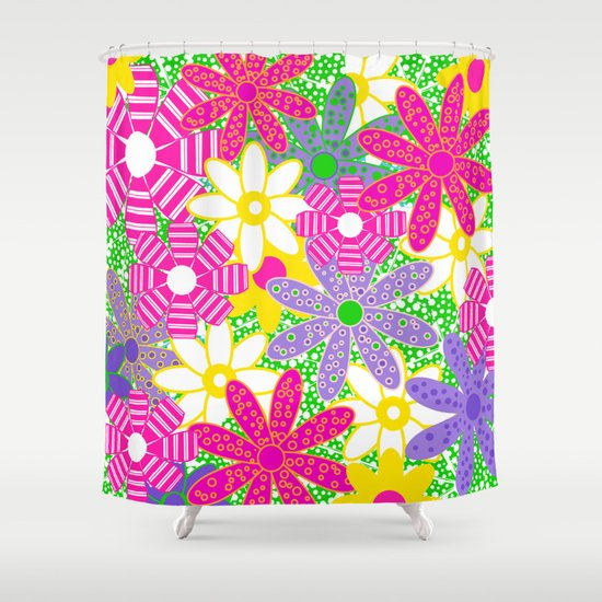 Frolicking Flowers Shower Curtain