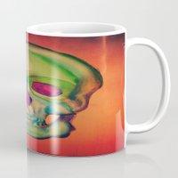 Watercolor skull/Green Mug