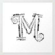 Typographic M Letter Art Print