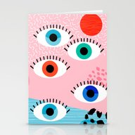 Noob - Eyes Memphis Retr… Stationery Cards
