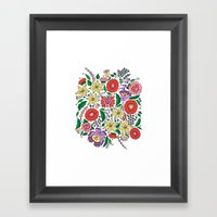 Hungarian embroidery motifs Framed Art Print