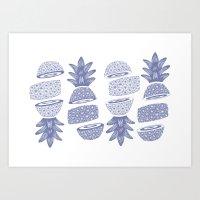 Pineapples (Light/Sliced) Art Print