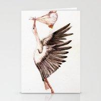 Baby on Bird Stationery Cards