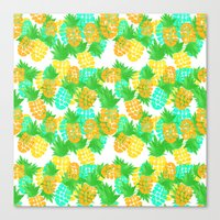 Watercolor Pineapples Tropic Canvas Print