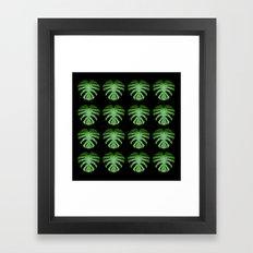 Monstera Mirror Leaf Pattern Framed Art Print
