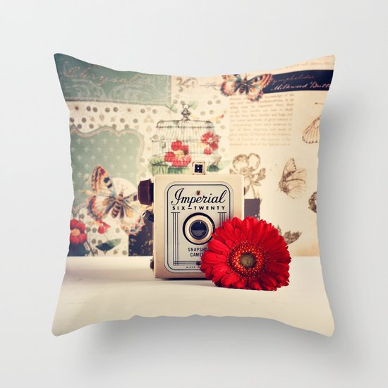 Retro Camera and Red Flower (Retro and Vintage Still Life Photography) Throw Pillow