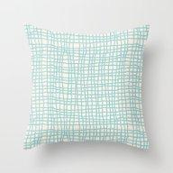 Blue Scribbles 06 Throw Pillow