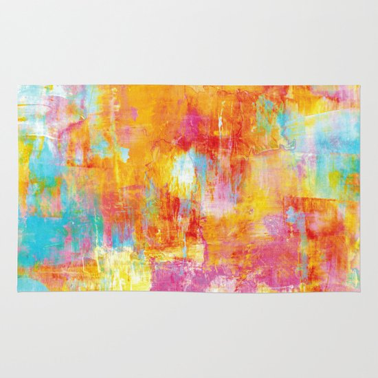 OFF THE GRID Colorful Pastel Neon Abstract Watercolor Acrylic Textural Art Painting Nature Rainbow  Area & Throw Rug