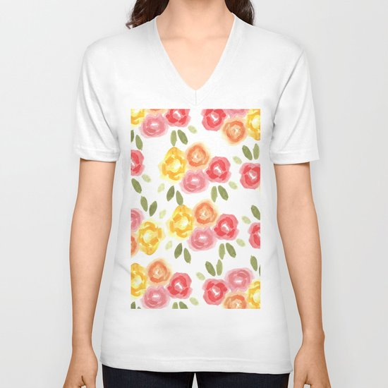 Vintage Florals V-neck T-shirt