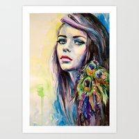 Peacock Girl Art Print