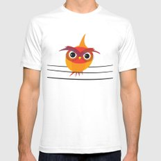 Owl On A Wire Mens Fitted Tee White SMALL