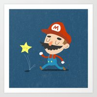mario Art Prints featuring Mario by Rod Perich