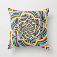 Colorful Curved Chevron Spiral Throw Pillow