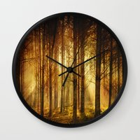 Golden Nature. Wall Clock