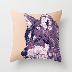 Blue eyed wolf Throw Pillow