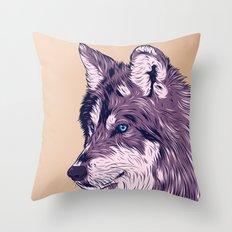 Blue eyed wolf Throw Pillow
