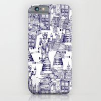 iPhone & iPod Case featuring Doctor Who Toile de Jouy | 'Walking Doodle' | Blue by Sharon Turner