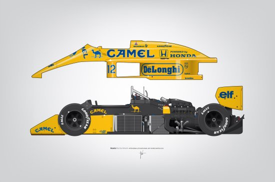 Outline Series N.º5, Ayrton Senna, Lotus 99T-Honda, 1987 Art Print