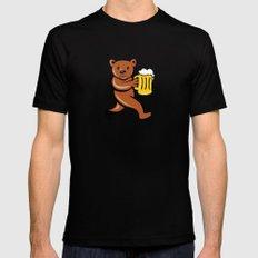 Bear Beer Mug Running Side Cartoon Mens Fitted Tee Black SMALL