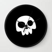 Skull Head logo with Three Teeth   Bones, white, pirates, symbolism, mortality, death, Halloween Wall Clock