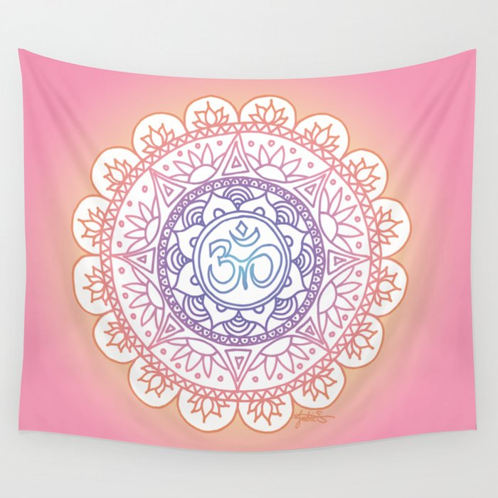 pink orange rainbow ohm symbol mandala tapestry beach blanket