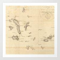 Galapagos Islands Map Art Print