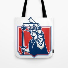Statue of Liberty Wielding Sword Scales Justice Tote Bag